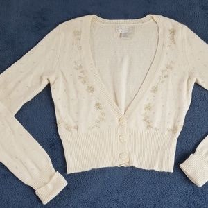 American Eagle Cropped Beaded Cardigan Sweater